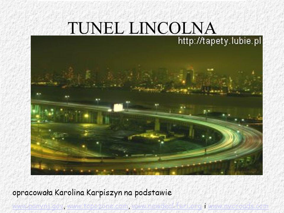 TUNEL LINCOLNA opracowała Karolina Karpiszyn na podstawie www.panynj.govwww.panynj.gov, www.topozone.com, www.newdeal.feri.org i www.nycroads.comwww.t