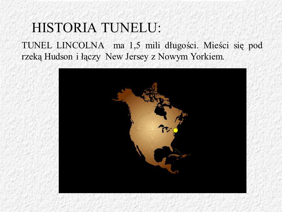 HISTORIA TUNELU: TUNEL LINCOLNA ma 1,5 mili długości. Mieści się pod rzeką Hudson i łączy New Jersey z Nowym Yorkiem.