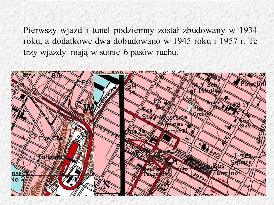 Pierwszy wjazd i tunel podziemny został zbudowany w 1934 roku, a dodatkowe dwa dobudowano w 1945 roku i 1957 r. Te trzy wjazdy mają w sumie 6 pasów ru