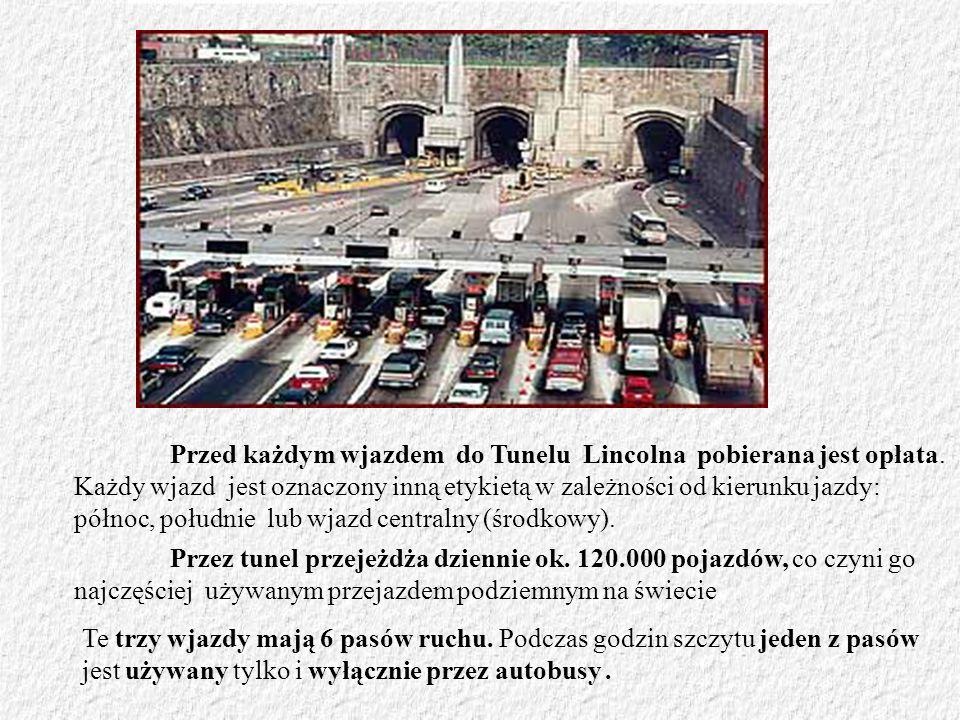 Przed każdym wjazdem do Tunelu Lincolna pobierana jest opłata. Każdy wjazd jest oznaczony inną etykietą w zależności od kierunku jazdy: północ, połudn