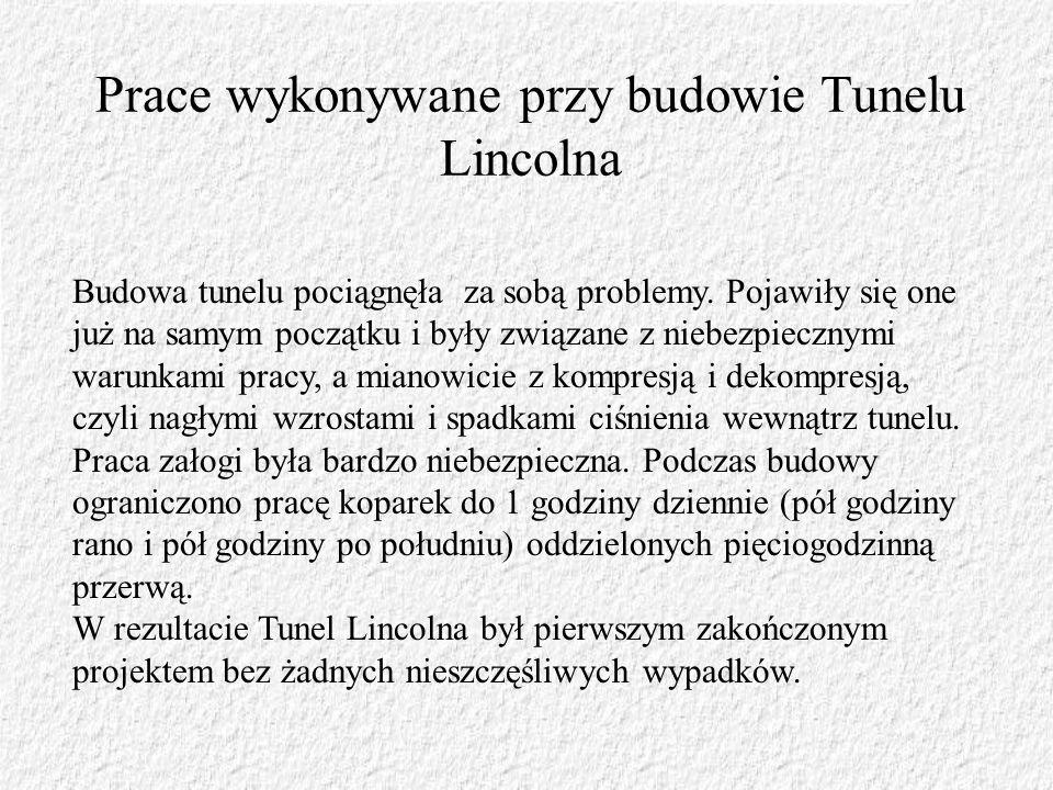 Prace wykonywane przy budowie Tunelu Lincolna Budowa tunelu pociągnęła za sobą problemy. Pojawiły się one już na samym początku i były związane z nieb