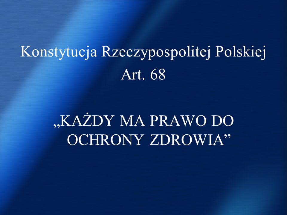 Konstytucja Rzeczypospolitej Polskiej Art. 68 KAŻDY MA PRAWO DO OCHRONY ZDROWIA