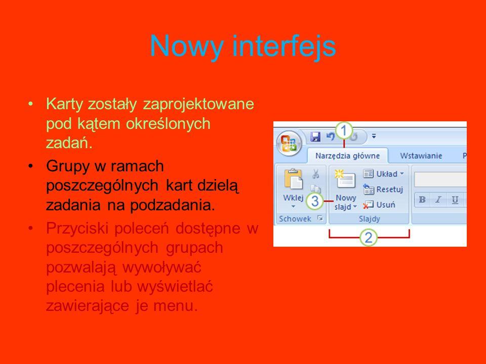 Program Office PowerPoint 2007 charakteryzuje się nowym, intuicyjnym interfejsem użytkownika, nazywanym Wstążką, który umożliwia tworzenie lepszych pr