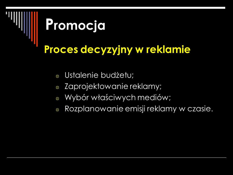 P romocja Proces decyzyjny w reklamie Ustalenie budżetu; Zaprojektowanie reklamy; Wybór właściwych mediów; Rozplanowanie emisji reklamy w czasie.