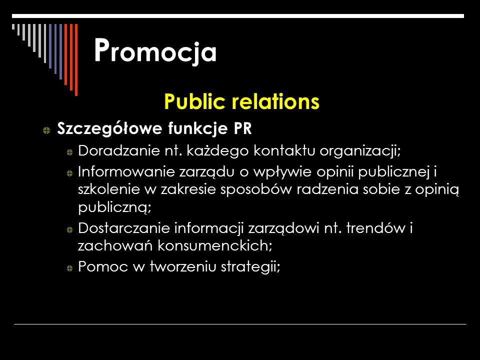P romocja Public relations Szczegółowe funkcje PR Doradzanie nt. każdego kontaktu organizacji; Informowanie zarządu o wpływie opinii publicznej i szko