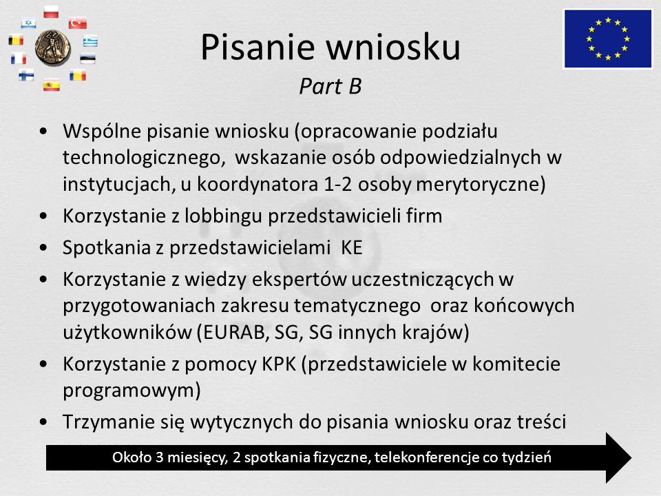 Pisanie wniosku Part B Wspólne pisanie wniosku (opracowanie podziału technologicznego, wskazanie osób odpowiedzialnych w instytucjach, u koordynatora