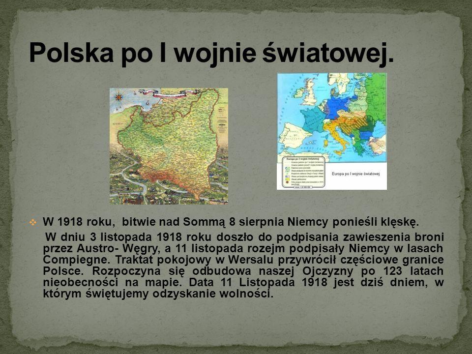 W 1918 roku, bitwie nad Sommą 8 sierpnia Niemcy ponieśli klęskę. W dniu 3 listopada 1918 roku doszło do podpisania zawieszenia broni przez Austro- Węg