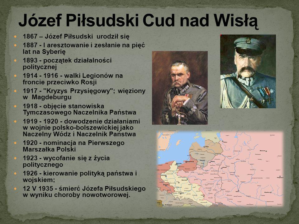 1867 – Józef Piłsudski urodził się 1887 - I aresztowanie i zesłanie na pięć lat na Syberię 1893 - początek działalności politycznej 1914 - 1916 - walk
