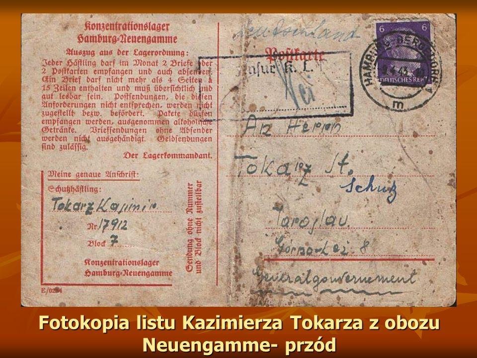 Fotokopia listu Kazimierza Tokarza z obozu Neuengamme- przód