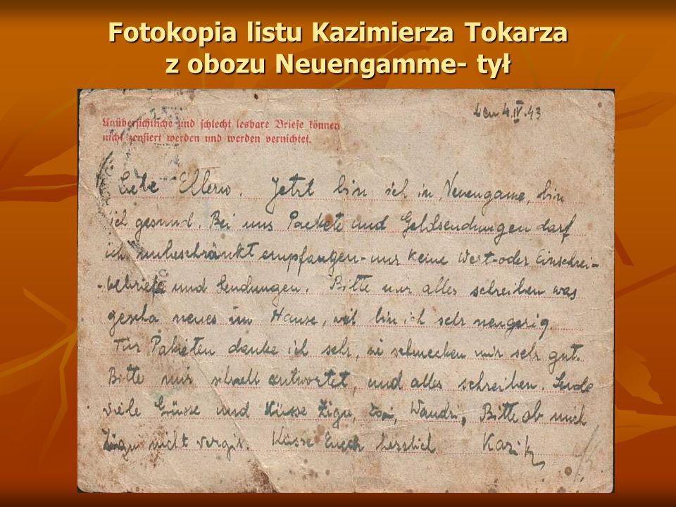 Fotokopia listu Kazimierza Tokarza z obozu Neuengamme- tył