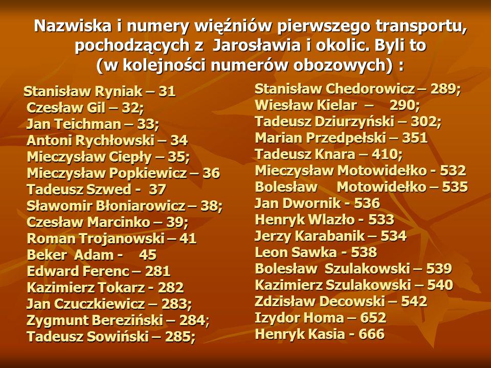 Nazwiska i numery więźniów pierwszego transportu, pochodzących z Jarosławia i okolic.