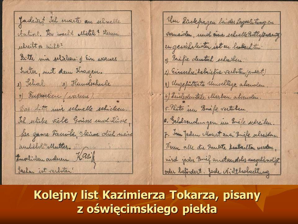 Kolejny list Kazimierza Tokarza, pisany z oświęcimskiego piekła