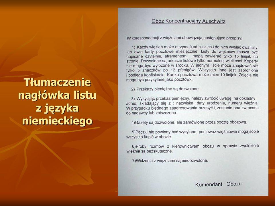 Tłumaczenie nagłówka listu z języka niemieckiego