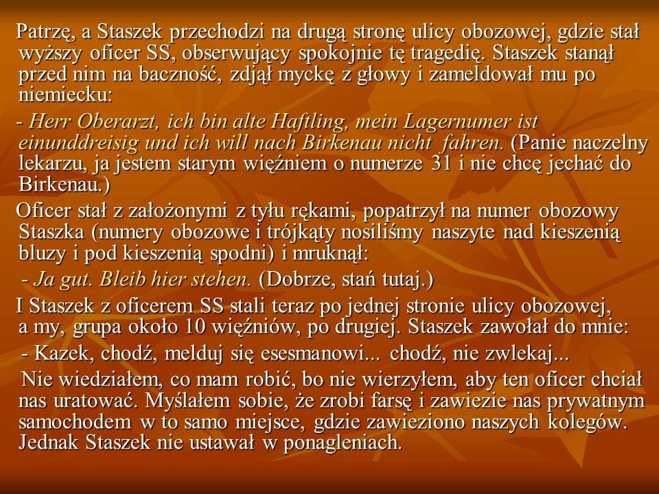 Patrzę, a Staszek przechodzi na drugą stronę ulicy obozowej, gdzie stał wyższy oficer SS, obserwujący spokojnie tę tragedię.
