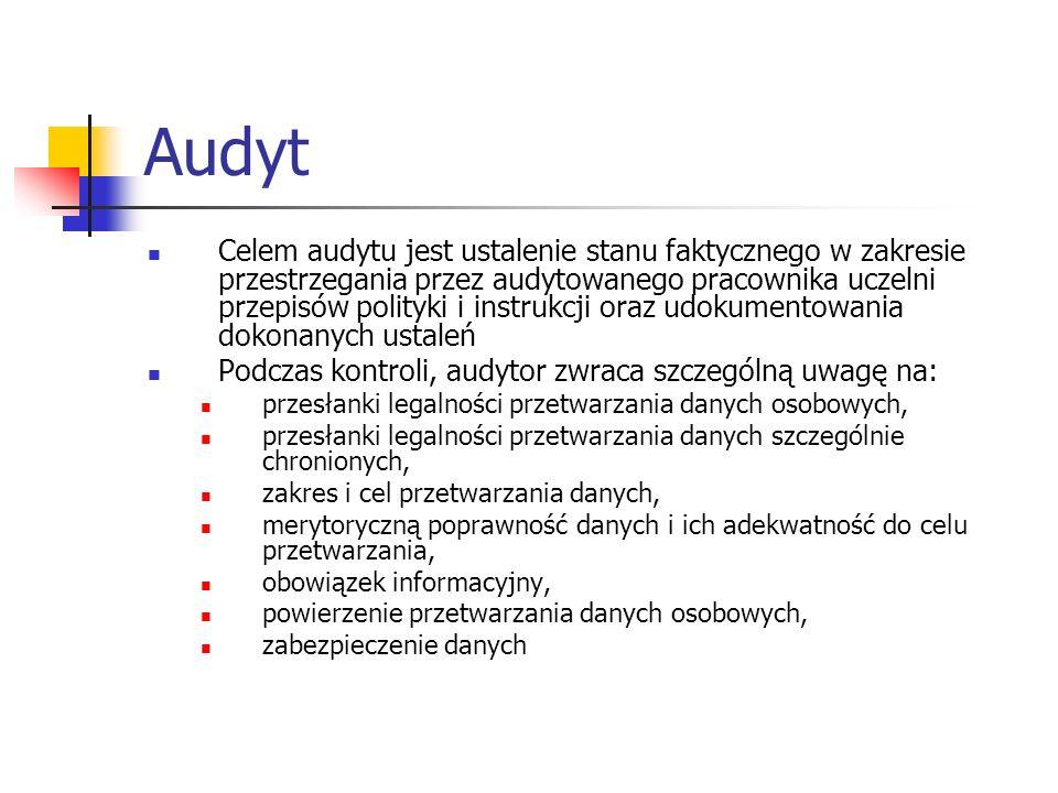 Audyt Celem audytu jest ustalenie stanu faktycznego w zakresie przestrzegania przez audytowanego pracownika uczelni przepisów polityki i instrukcji or