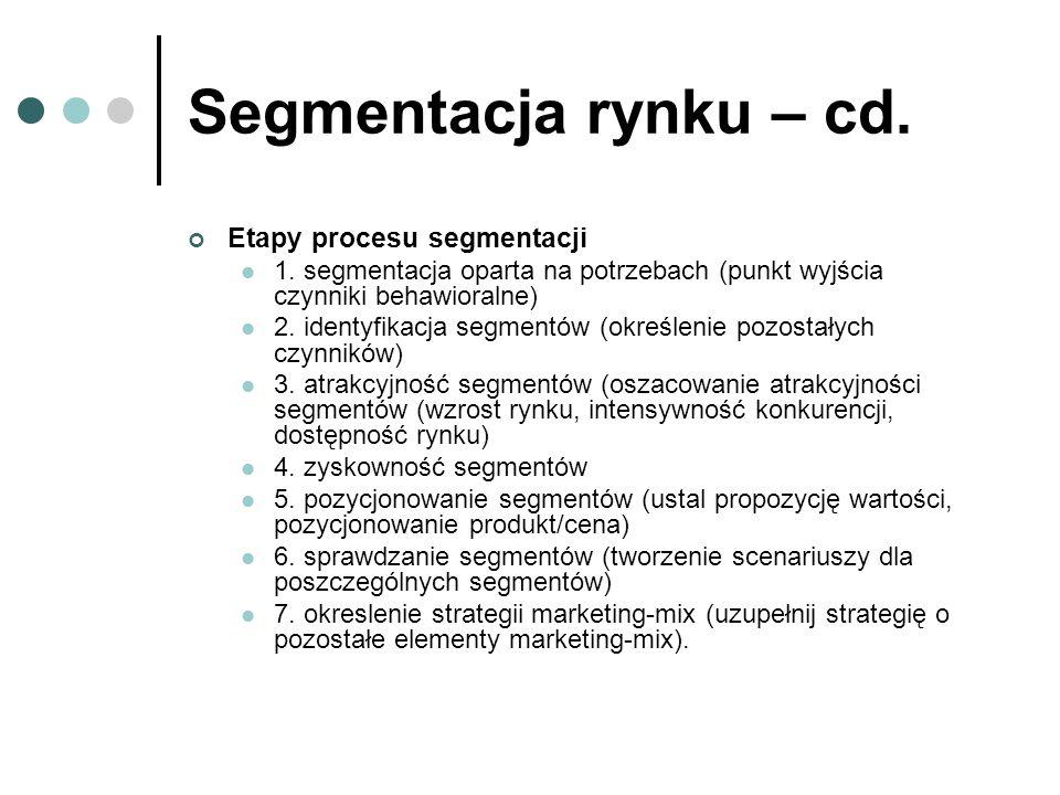 Segmentacja rynku – cd. Etapy procesu segmentacji 1. segmentacja oparta na potrzebach (punkt wyjścia czynniki behawioralne) 2. identyfikacja segmentów