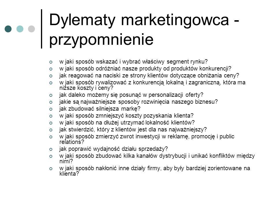 Dylematy marketingowca - przypomnienie w jaki sposób wskazać i wybrać właściwy segment rynku? w jaki sposób odróżniać nasze produkty od produktów konk