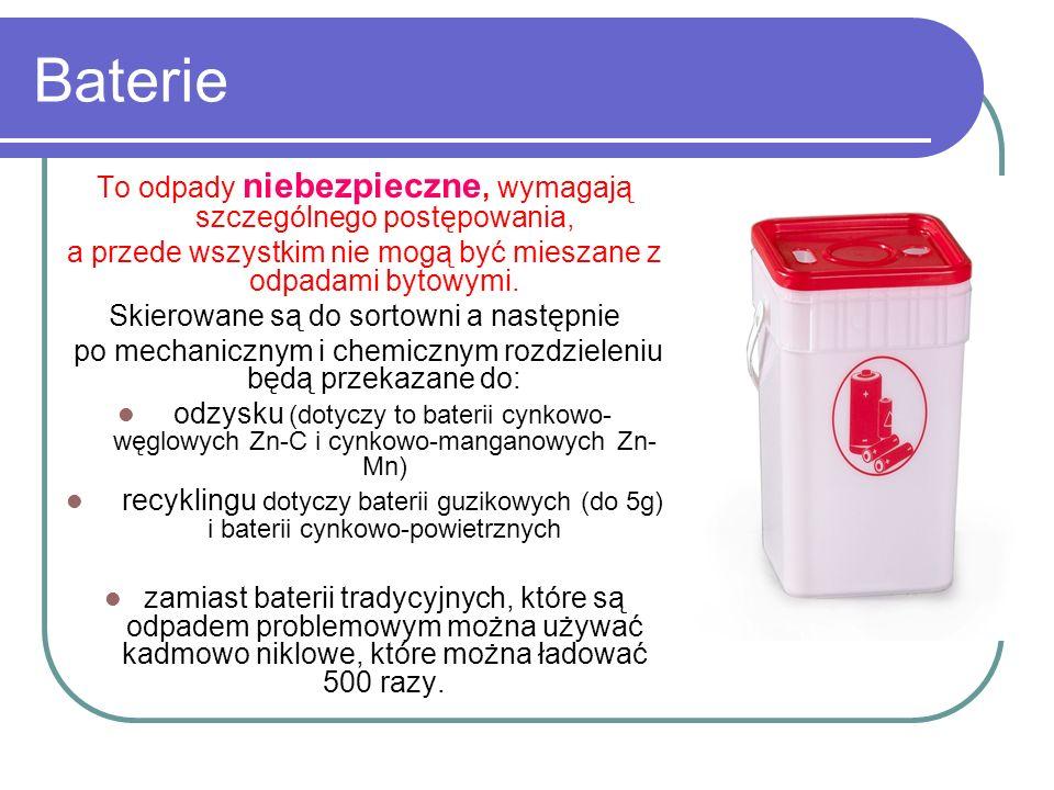 Baterie To odpady niebezpieczne, wymagają szczególnego postępowania, a przede wszystkim nie mogą być mieszane z odpadami bytowymi. Skierowane są do so