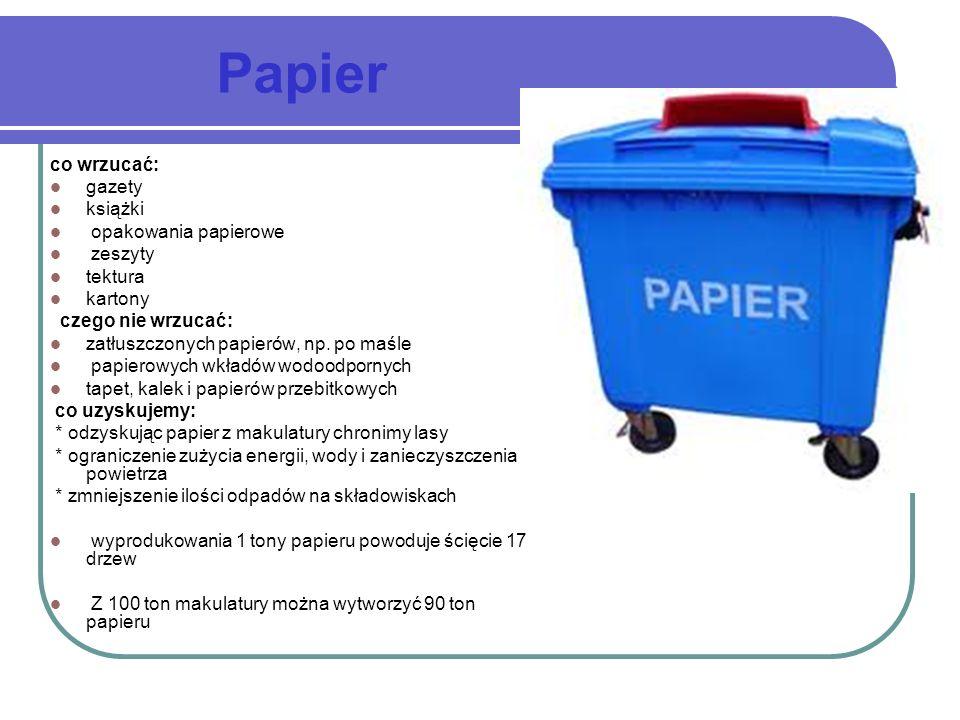 Papier co wrzucać: gazety książki opakowania papierowe zeszyty tektura kartony czego nie wrzucać: zatłuszczonych papierów, np. po maśle papierowych wk