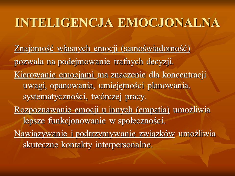 INTELIGENCJA EMOCJONALNA Znajomość własnych emocji (samoświadomość) pozwala na podejmowanie trafnych decyzji. Kierowanie emocjami ma znaczenie dla kon