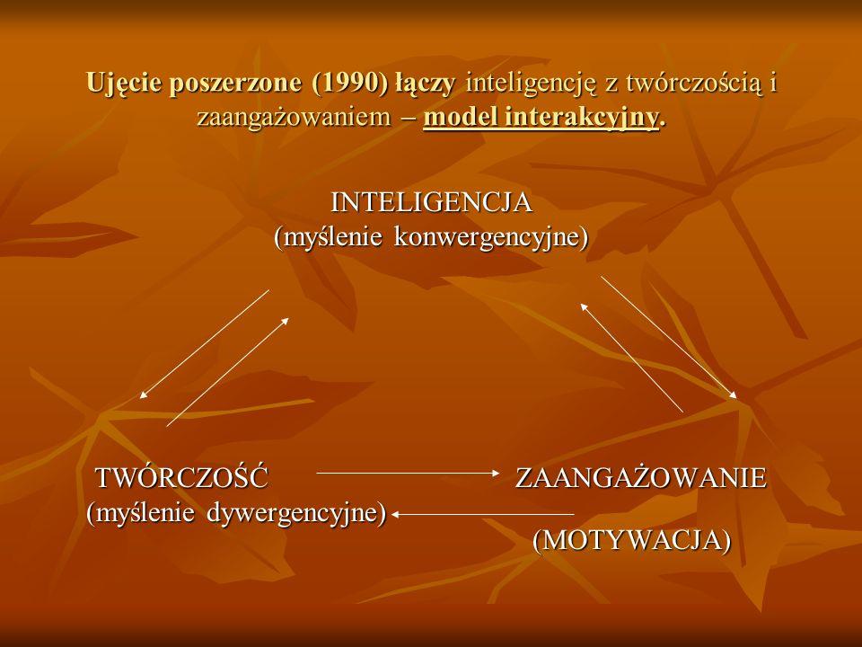 Ujęcie poszerzone (1990) łączy inteligencję z twórczością i zaangażowaniem – model interakcyjny. INTELIGENCJA (myślenie konwergencyjne) TWÓRCZOŚĆ ZAAN
