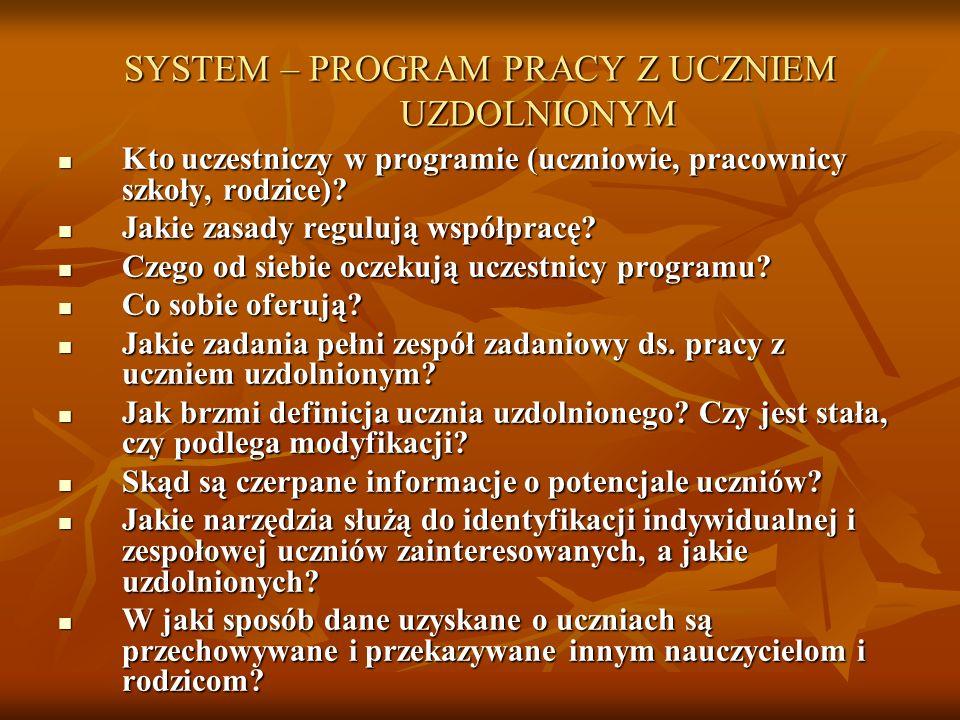 SYSTEM – PROGRAM PRACY Z UCZNIEM UZDOLNIONYM Kto uczestniczy w programie (uczniowie, pracownicy szkoły, rodzice)? Kto uczestniczy w programie (uczniow