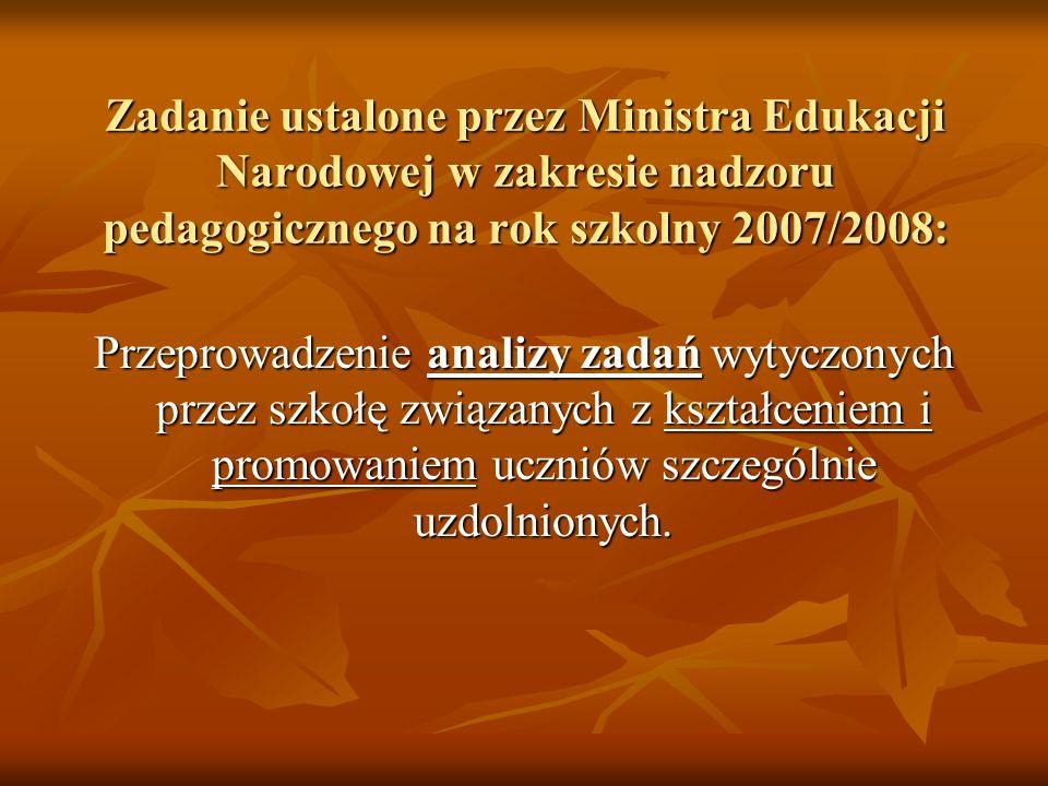 Zadanie ustalone przez Ministra Edukacji Narodowej w zakresie nadzoru pedagogicznego na rok szkolny 2007/2008: Przeprowadzenie analizy zadań wytyczony