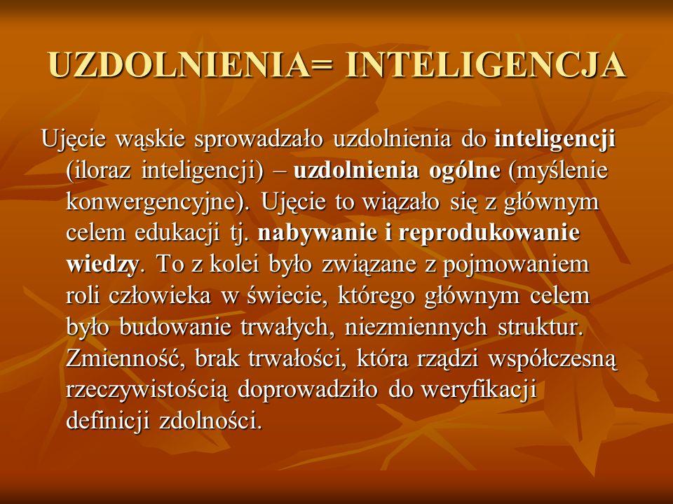 UZDOLNIENIA= INTELIGENCJA Ujęcie wąskie sprowadzało uzdolnienia do inteligencji (iloraz inteligencji) – uzdolnienia ogólne (myślenie konwergencyjne).