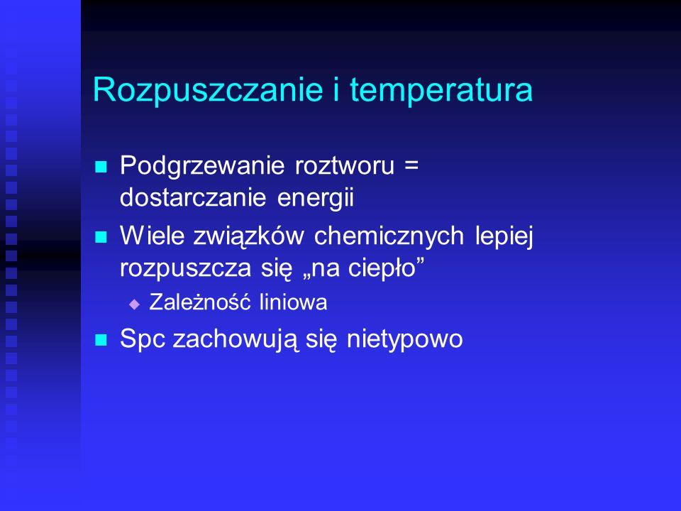 Rozpuszczanie i temperatura Podgrzewanie roztworu = dostarczanie energii Wiele związków chemicznych lepiej rozpuszcza się na ciepło Zależność liniowa