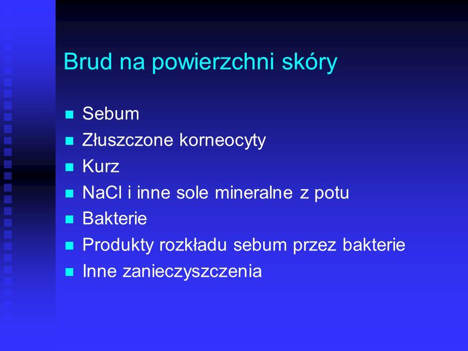 Brud na powierzchni skóry Sebum Złuszczone korneocyty Kurz NaCl i inne sole mineralne z potu Bakterie Produkty rozkładu sebum przez bakterie Inne zani