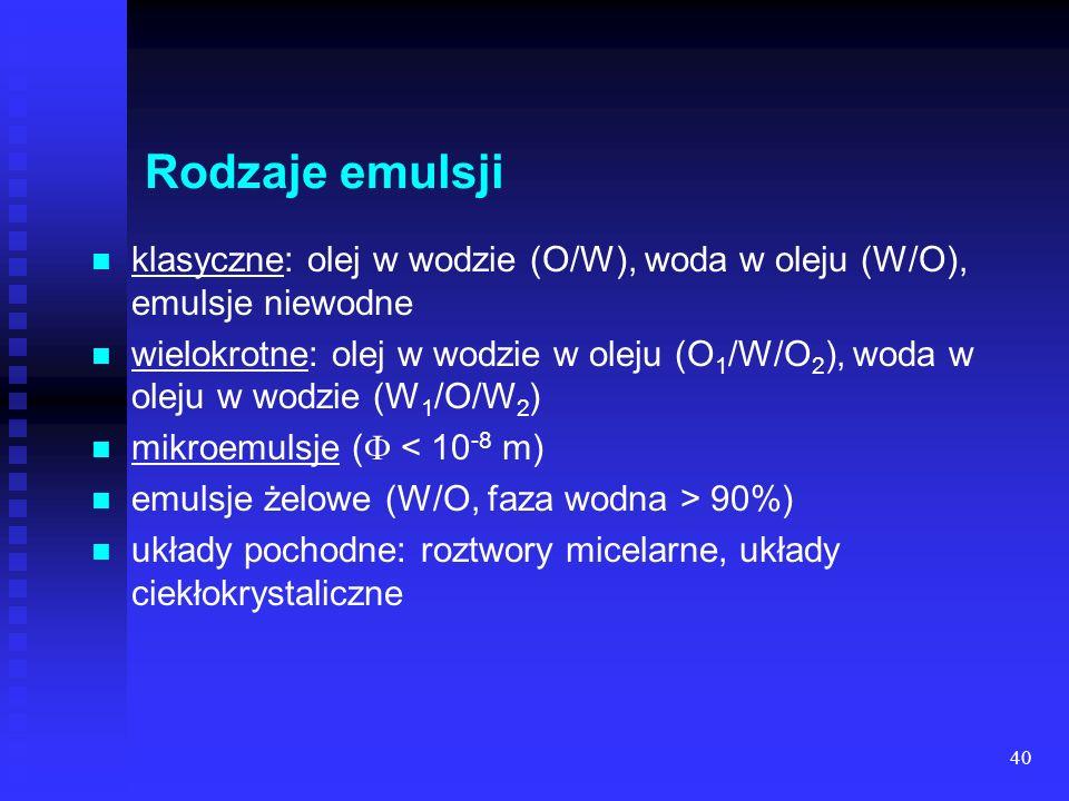 40 Rodzaje emulsji klasyczne: olej w wodzie (O/W), woda w oleju (W/O), emulsje niewodne wielokrotne: olej w wodzie w oleju (O 1 /W/O 2 ), woda w oleju