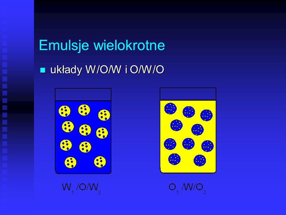 Emulsje wielokrotne układy W/O/W i O/W/O układy W/O/W i O/W/O