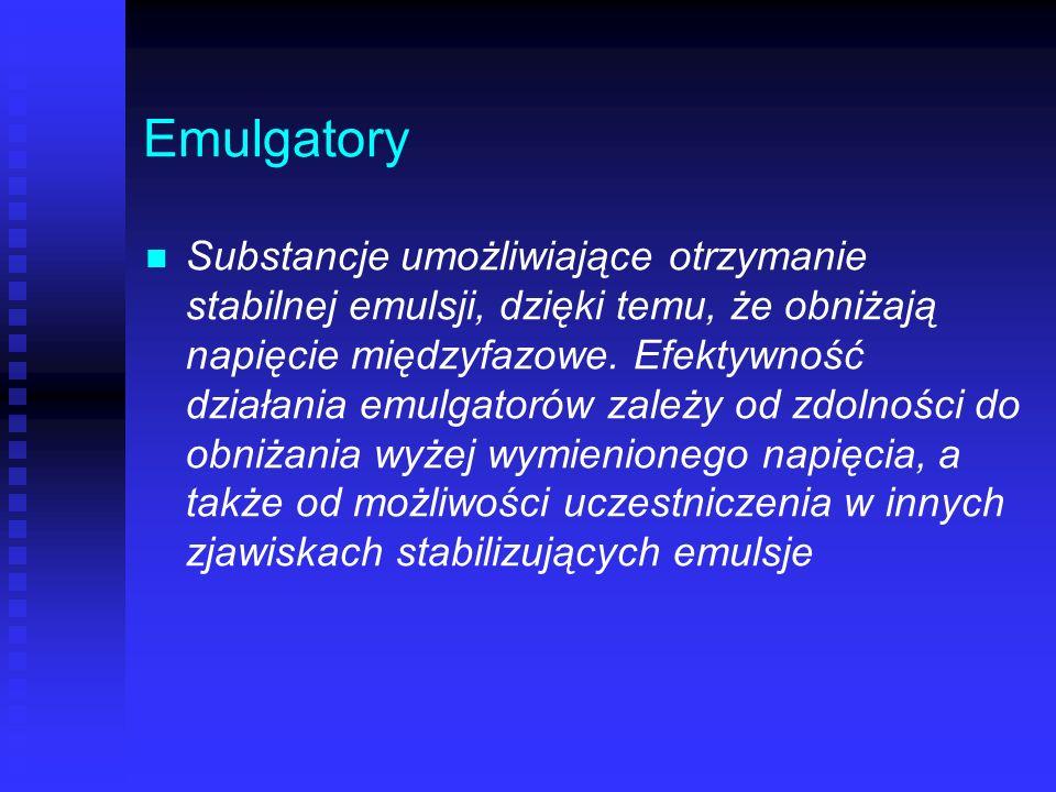 Emulgatory Substancje umożliwiające otrzymanie stabilnej emulsji, dzięki temu, że obniżają napięcie międzyfazowe. Efektywność działania emulgatorów za
