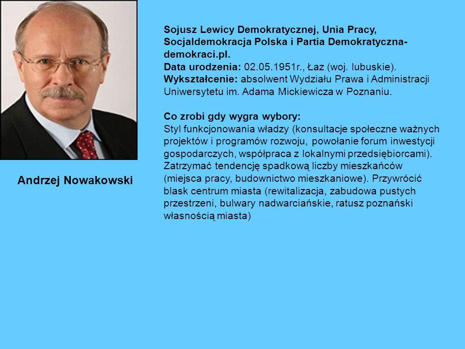 Andrzej Nowakowski Sojusz Lewicy Demokratycznej, Unia Pracy, Socjaldemokracja Polska i Partia Demokratyczna- demokraci.pl.