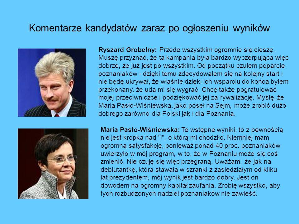 Komentarze kandydatów zaraz po ogłoszeniu wyników Ryszard Grobelny: Przede wszystkim ogromnie się cieszę.