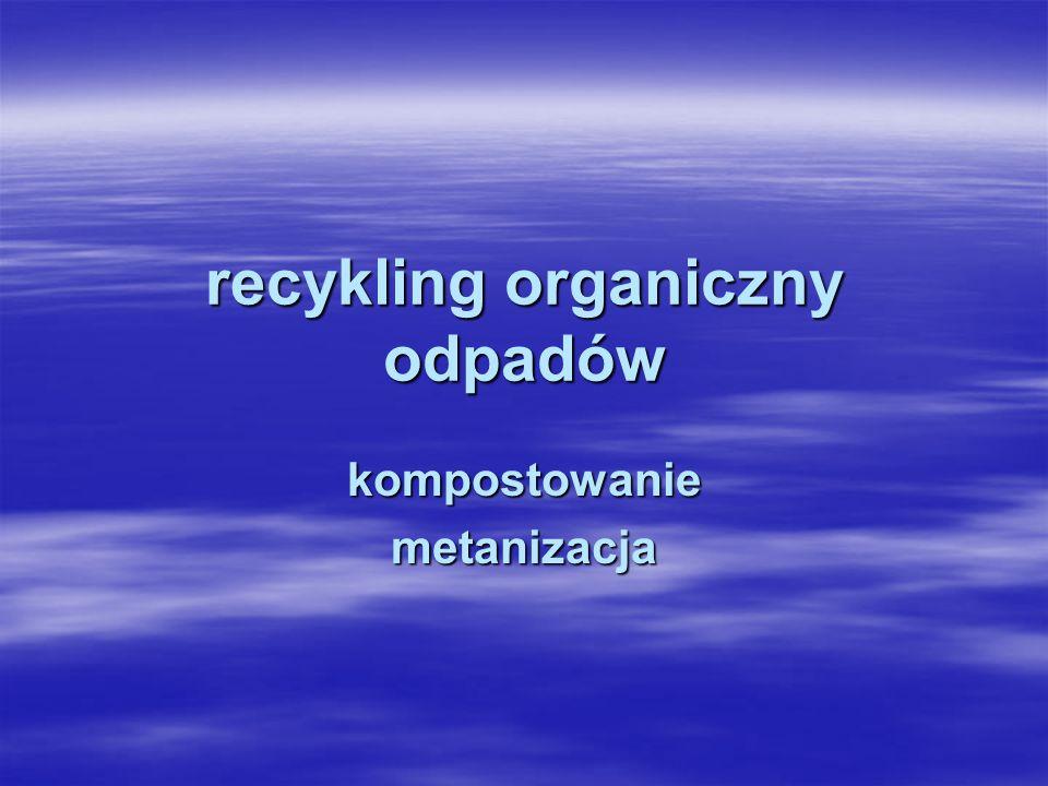 recykling organiczny - to obróbka tlenowa, w tym kompostowanie, lub beztlenowa odpadów, które ulegają rozkładowi biologicznemu w kontrolowanych warunkach przy wykorzystaniu mikroorganizmów, w wyniku której powstaje materia organiczna lub metan recykling organiczny - to obróbka tlenowa, w tym kompostowanie, lub beztlenowa odpadów, które ulegają rozkładowi biologicznemu w kontrolowanych warunkach przy wykorzystaniu mikroorganizmów, w wyniku której powstaje materia organiczna lub metan