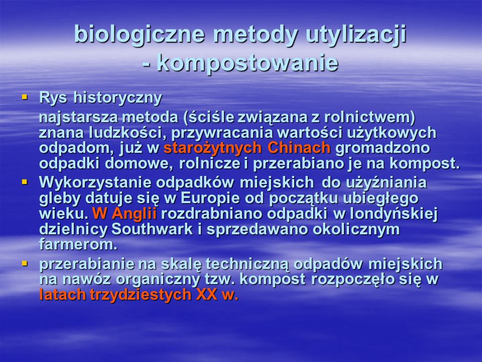 kompostowanie w komorach bez wstępnego rozdrabniania: DANO (Dania), MUT (Austria), PRAT(Francja) ze wstępnym rozdrabnianiem: VENOD PIC, TRIGA, CAREL FOUCHE, BIOTONIC (Francja), MULTIBACTO (Szwajcaria), THOMAS FERTILLA (Włochy), LAWDEN, JOHN THOMPSON (Anglia), SCEBA-ECLIFESA (Hiszpania), METROWASTE, IDC, FAIRFIELD HARDY (USA), DYNACOMP (Niemcy).
