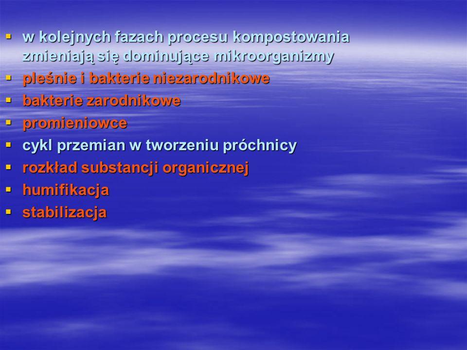 Charakterystyka poszczególnych etapów Rozkład substancji organicznej –(mineralizacji) utlenienia substancji organicznej do dwutlenku węgla, wody, azotanów, siarczanów, fosforanów i innych składników w najwyższym stopniu utlenienia.