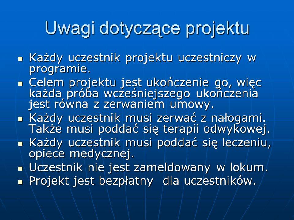 Uwagi dotyczące projektu Każdy uczestnik projektu uczestniczy w programie. Każdy uczestnik projektu uczestniczy w programie. Celem projektu jest ukońc