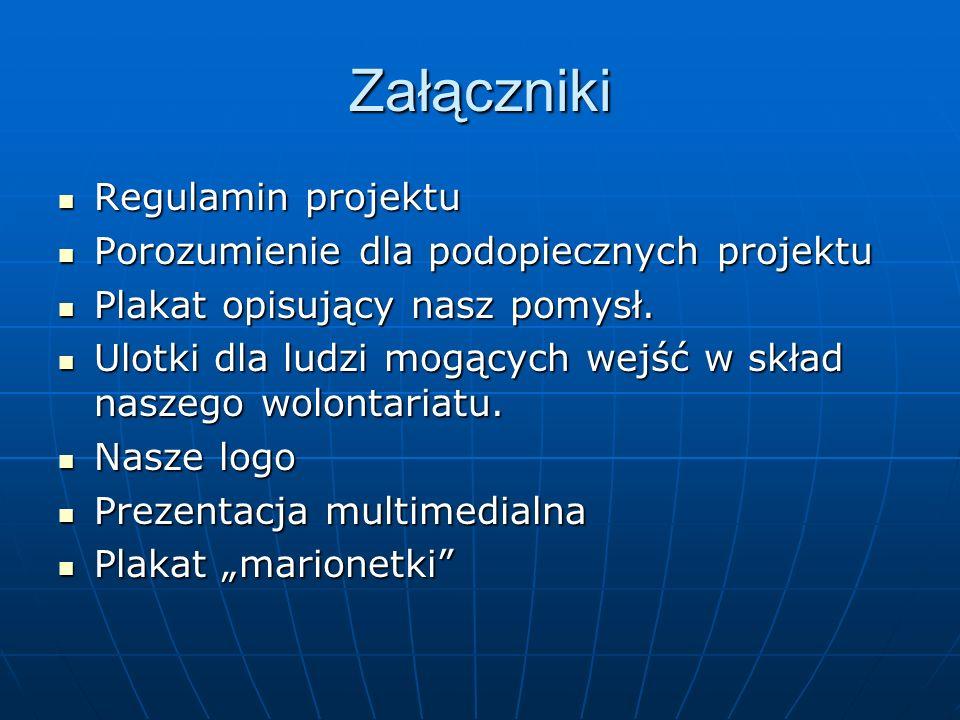 Załączniki Regulamin projektu Regulamin projektu Porozumienie dla podopiecznych projektu Porozumienie dla podopiecznych projektu Plakat opisujący nasz