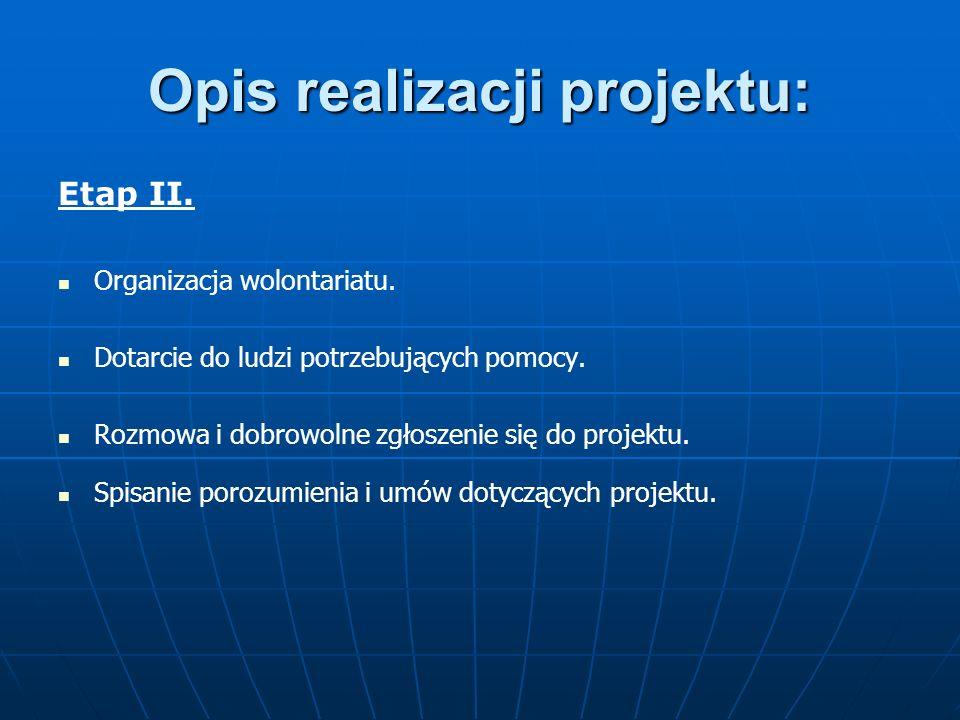 Opis realizacji projektu: Etap III Zakwaterowanie ludzi w przystosowanym lokalu.
