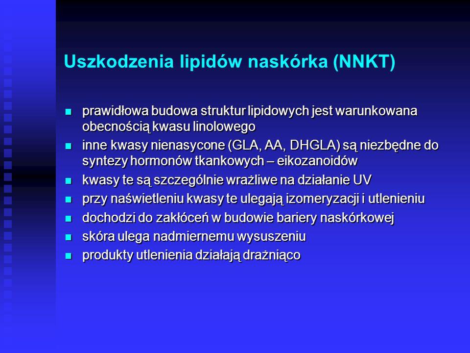 Biologiczne działanie UV Reakcje sensybilizowane Reakcje sensybilizowane uszkodzenia lipidów stratum corneum uszkodzenia lipidów stratum corneum Reakc