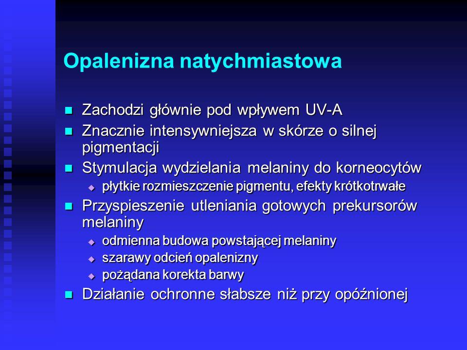 Melanogeneza Na naświetlanie promieniowaniem UV skóra reaguje reakcją obronną – melanogenezą Na naświetlanie promieniowaniem UV skóra reaguje reakcją