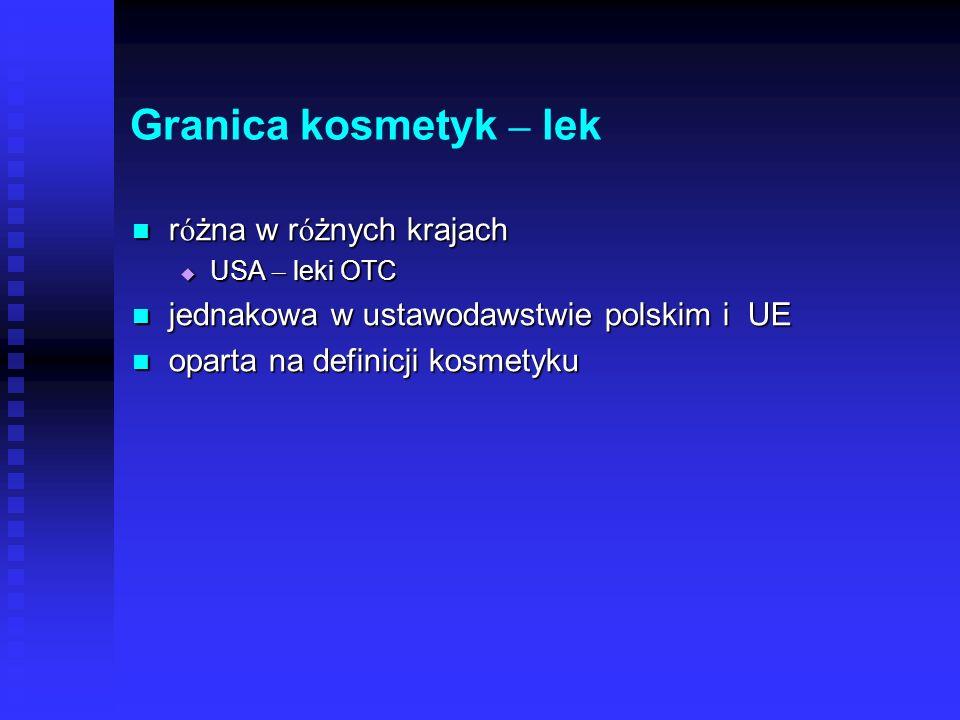 Granica kosmetyk – lek r ó żna w r ó żnych krajach r ó żna w r ó żnych krajach USA – leki OTC USA – leki OTC jednakowa w ustawodawstwie polskim i UE jednakowa w ustawodawstwie polskim i UE oparta na definicji kosmetyku oparta na definicji kosmetyku