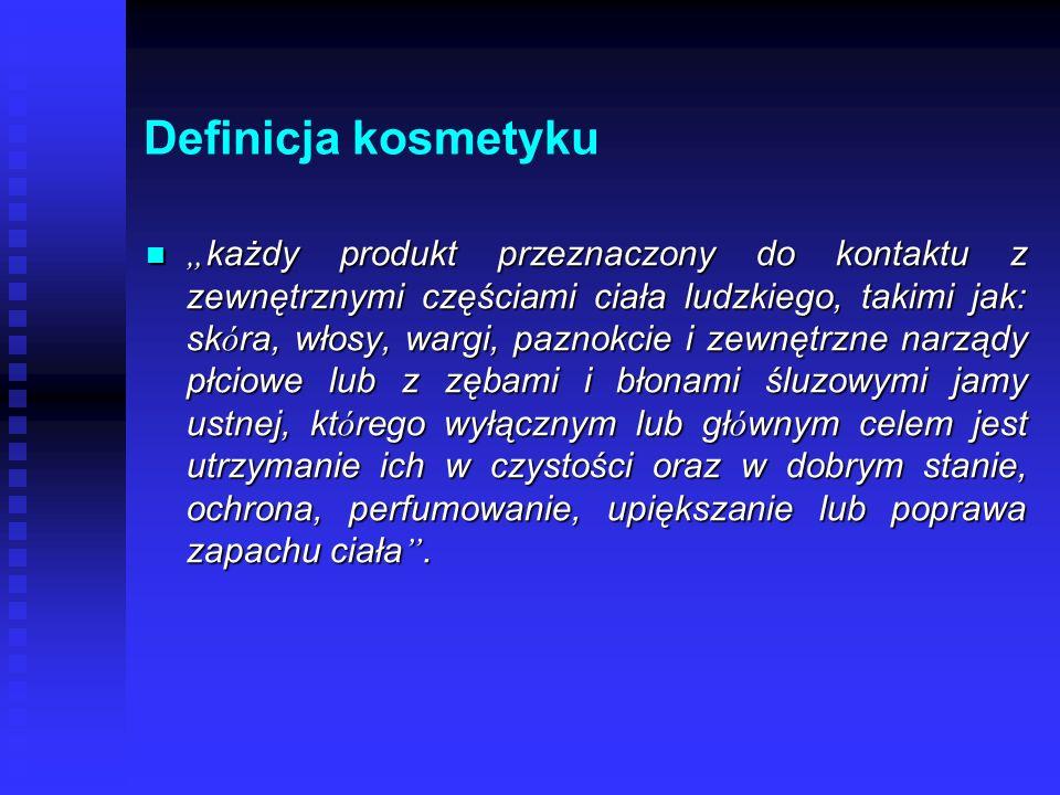 Ustawa zobowiązuje producenta (dystrybutora) zobowiązuje producenta (dystrybutora) do zgłoszenia kosmetyku do krajowego systemu informowania (IMP w Łodzi) do zgłoszenia kosmetyku do krajowego systemu informowania (IMP w Łodzi) nazwa i kategoria nazwa i kategoria dane producenta (importera) dane producenta (importera) miejsce produkcji miejsce produkcji miejsce przechowywania dokumentacji toksykologicznej, aplikacyjnej i innej danego wyrobu miejsce przechowywania dokumentacji toksykologicznej, aplikacyjnej i innej danego wyrobu