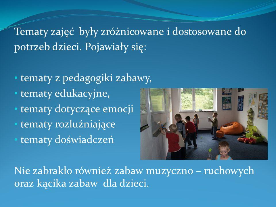 Tematy zajęć były zróżnicowane i dostosowane do potrzeb dzieci.