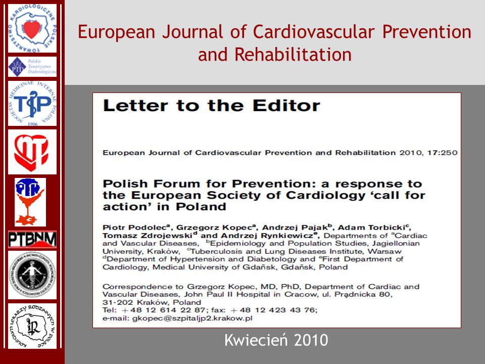 PFPPFP PFPPFP European Journal of Cardiovascular Prevention and Rehabilitation Kwiecień 2010