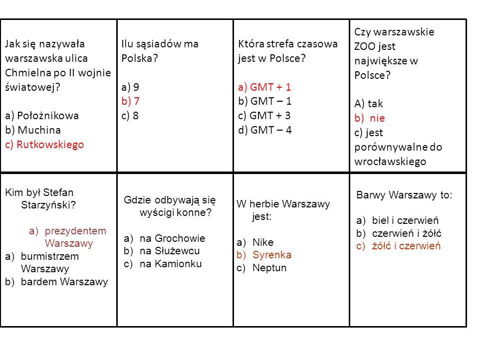 Ilu sąsiadów ma Polska? a) 9 b) 7 c) 8 Która strefa czasowa jest w Polsce? a) GMT + 1 b) GMT – 1 c) GMT + 3 d) GMT – 4 Jak się nazywała warszawska uli