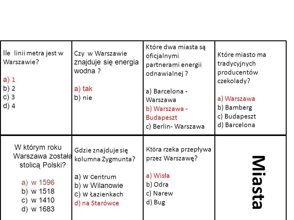 W którym roku Warszawa została stolicą Polski? a)w 1596 b)w 1518 c)w 1410 d)w 1683 Gdzie znajduje się kolumna Zygmunta? a) w c entrum b) w Wilanowie c