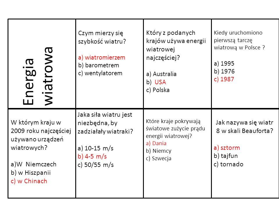 W którym kraju w 2009 roku najczęściej używano urządzeń wiatrowych? a)W Niemczech b) w Hiszpanii c) w Chinach Jaka siła wiatru jest niezbędna, by zadz